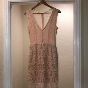 Light Pink dress w/ lace and embroidered overlay